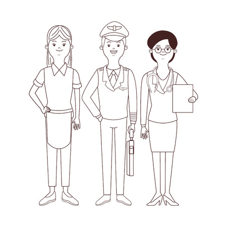 maid pilot and doctor avatar vector illustration graphic design