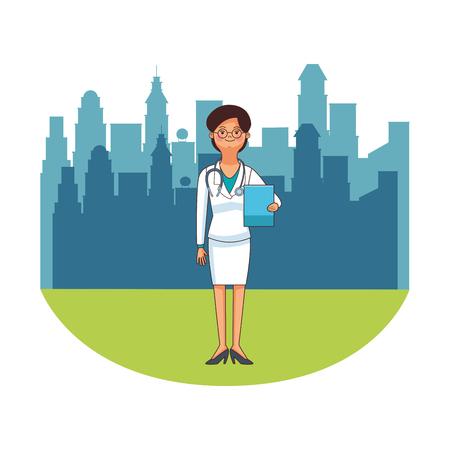 female doctor avatar isolated cityscape vector illustration graphic design