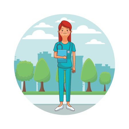 nurse isolated avatar with endoscope cityscape round icon vector illustration graphic design Stock Vector - 125855892