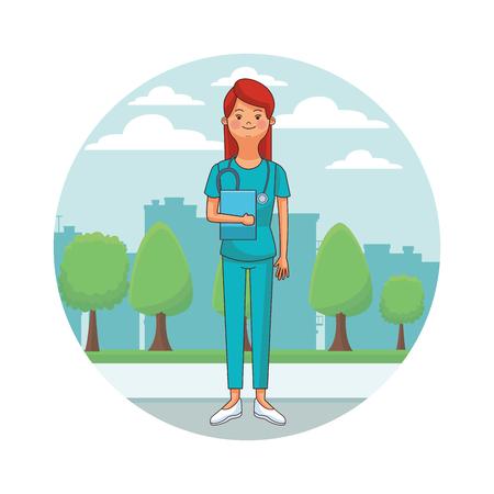 nurse isolated avatar with endoscope cityscape round icon vector illustration graphic design