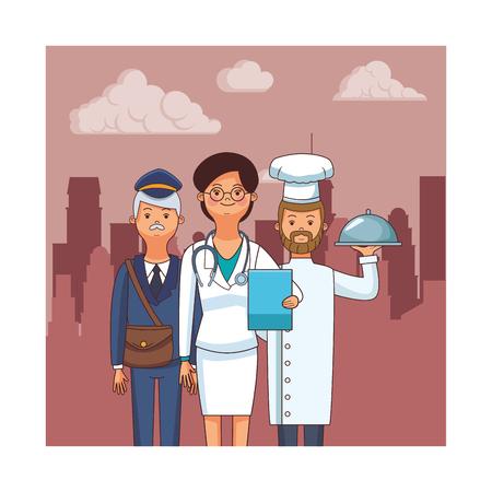 profession and occupation avatars doctor chef postman vector illustration graphic design Ilustracja