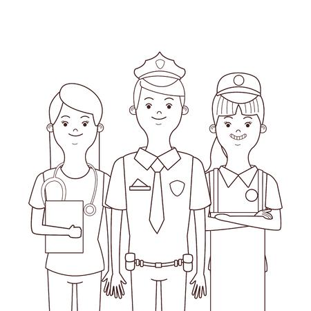 profession and occupation avatars policeman seller nurse vector illustration graphic design