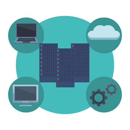 servers with informatic items cloud gears vector illustration graphic design Illustration