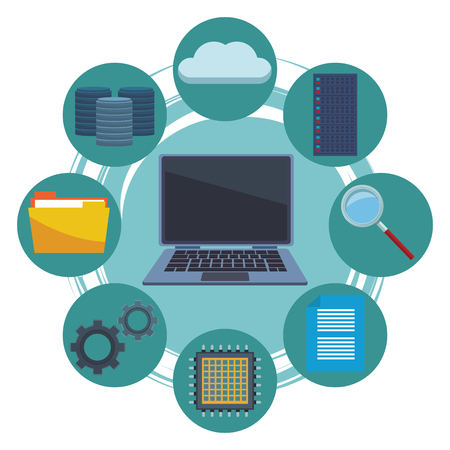 computer and informatic items cloud server microchip vector illustration graphic design Illustration