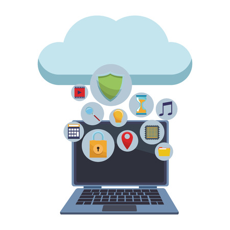 computer with cloud and informatic security items vector illustration graphic design Illustration
