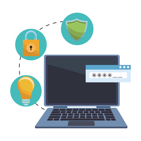 computer with informatic security items padlock vector illustration graphic design Illustration