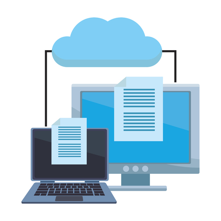 computer with documents and cloud vector illustration graphic design