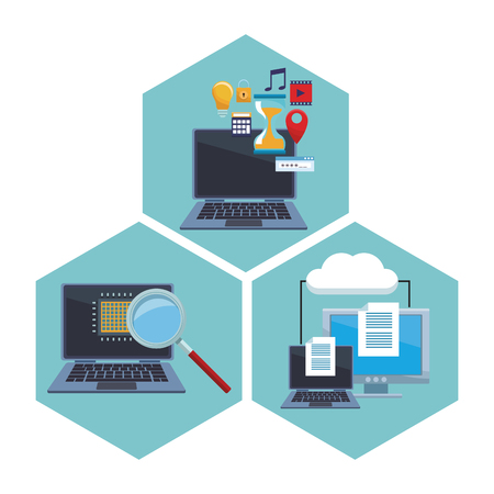 set computer with informatic items microchip documents vector illustration graphic design Illustration
