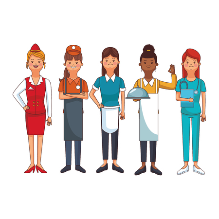 women profession and occupation avatars stewardess seller maid vector illustration graphic design
