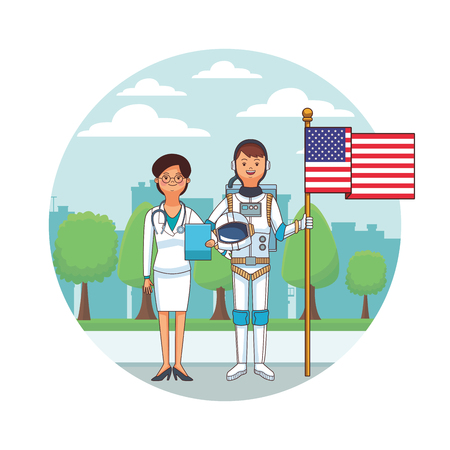 female doctor and astronaut with flag cityscape round icon vector illustration graphic design Illustration