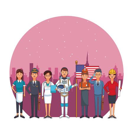 profession and occupation avatars pilot maid doctor astronaut vector illustration graphic design