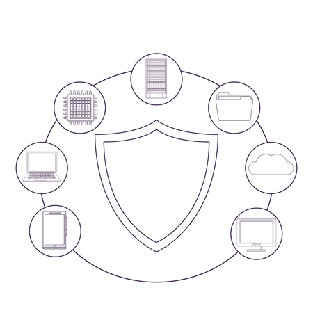 security sign and informatic items microchip server documents vector illustration graphic design