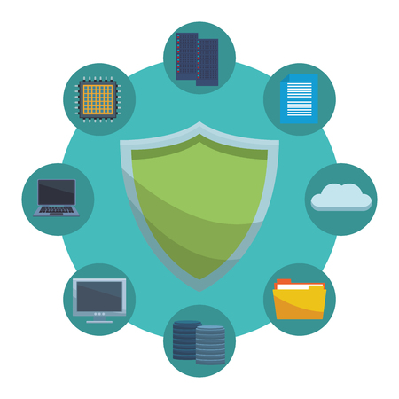 informatic security symbol and items server computer microchip cloud vector illustration graphic design Illustration