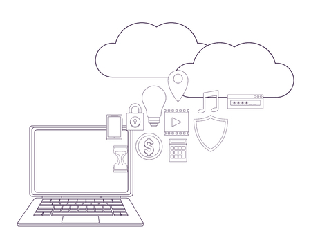 computer with cloud and informatic items vector illustration graphic design Illustration