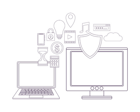 computer with security symbol and informatic items vector illustration graphic design
