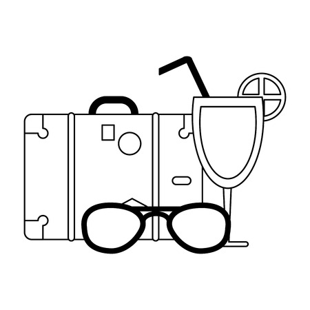 Summer and vacations suitcase and sunglasses with cocktail vector illustration graphic design vector illustration graphic design