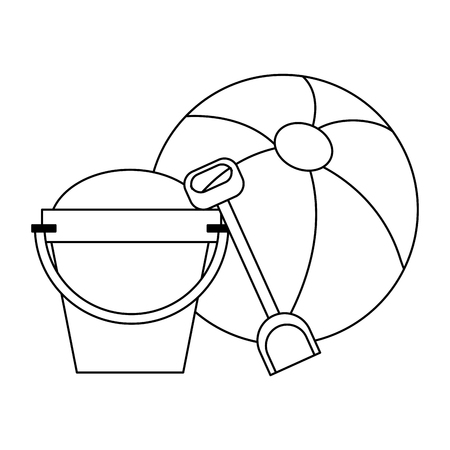 Summer and vacations sand bucket and shovel with ball vector illustration graphic design vector illustration graphic design