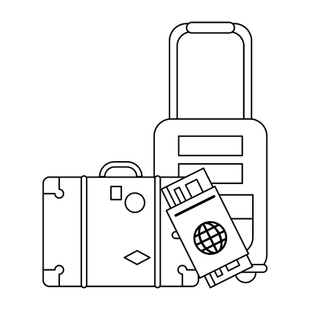 Summer and vacations suitcase and luggage with passport vector illustration graphic design vector illustration graphic design