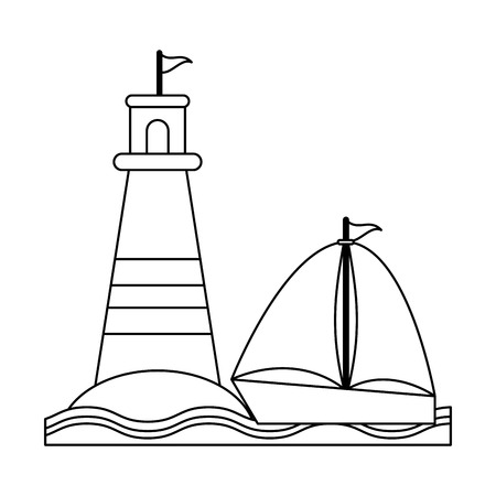 Summer and vacations lighthouse and sailboatd with sea vector illustration graphic design vector illustration graphic design