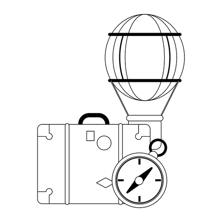 Summer and vacations suitcase compass and hot air balloon vector illustration graphic design vector illustration graphic design Vectores