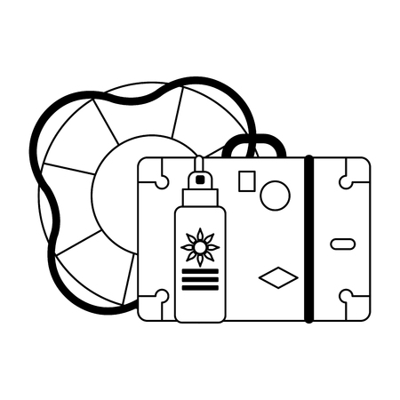 Summer and vacations suitcase float and bronzer vector illustration graphic design vector illustration graphic design