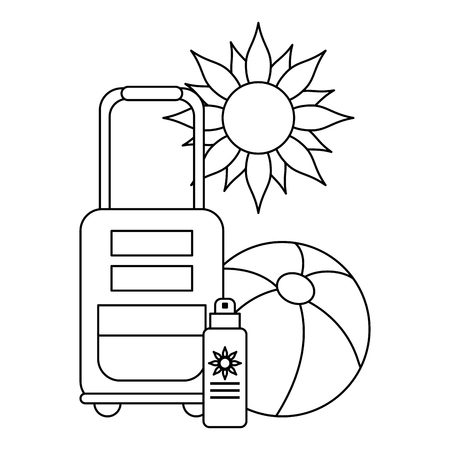 Summer and vacations luggage bronzer and ball with sun vector illustration graphic design vector illustration graphic design