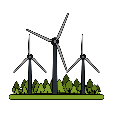 Wind turbines on nature vector illustration graphic design