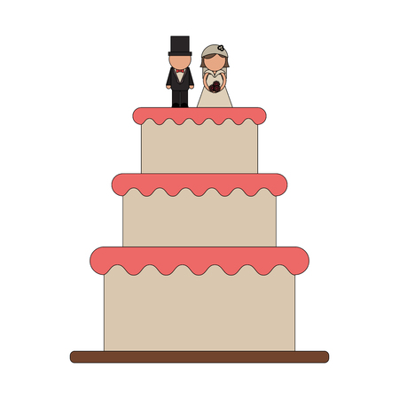 Wedding cake with groom and bride symbol vector illustration graphic design