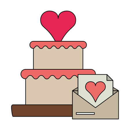 Cake with heart and love letter envelope vector illustration graphic design Ilustrace