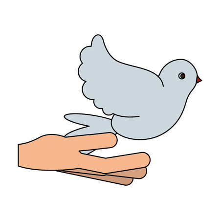 hand with dove symbol vector illustration graphic design Stock Illustratie