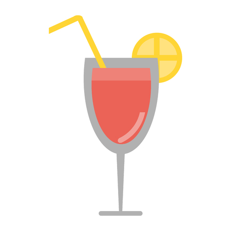 Cocktail with lemon and straw vector illustration graphic design Illustration