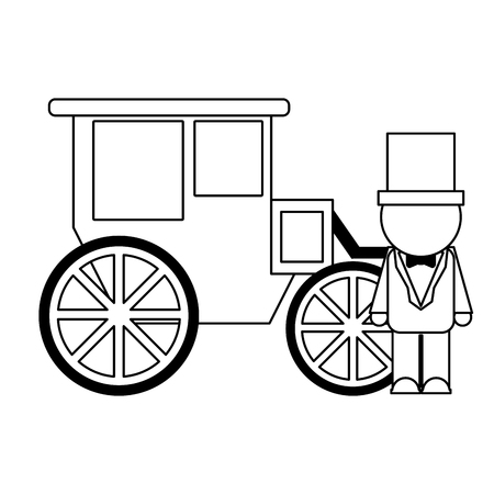 wedding groom with carriage vector illustration graphic design