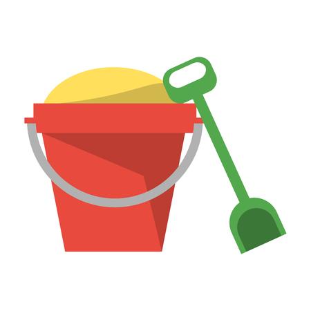 Sand bucket and shovel symbol vector illustration graphic design