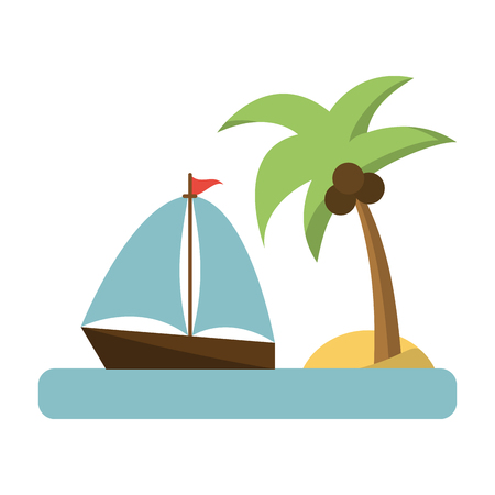 Summer and vacations sailboat with island vector illustration graphic design