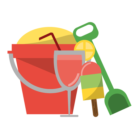 Summer and vacations sand bucket and ice cream with cocktail vector illustration graphic design