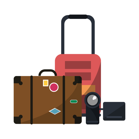 Summer and vacations suitcase and camera with luggage vector illustration graphic design