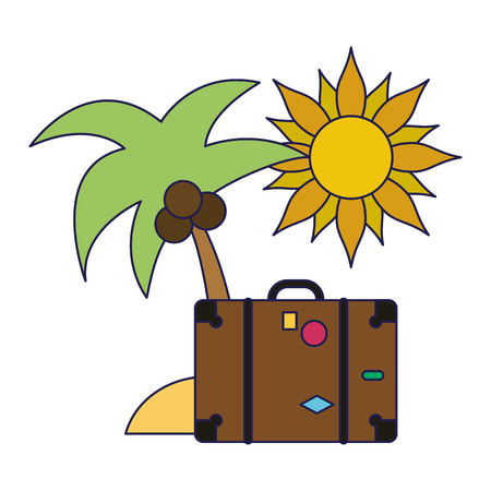 Summer and vacations palms suitcase and sun vector illustration graphic design Illustration