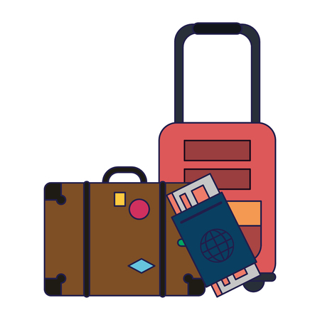 Summer and vacations suitcase and luggage with passport vector illustration graphic design Illustration