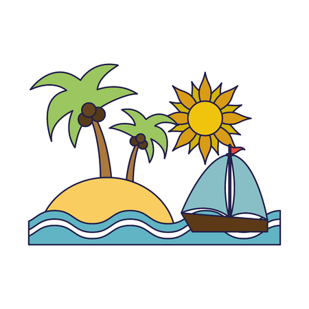 Summer and vacations island and sailboat with sun and palms vector illustration graphic design