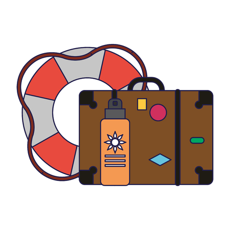 Summer and vacations luggage bronzer and ball with sun vector illustration graphic design
