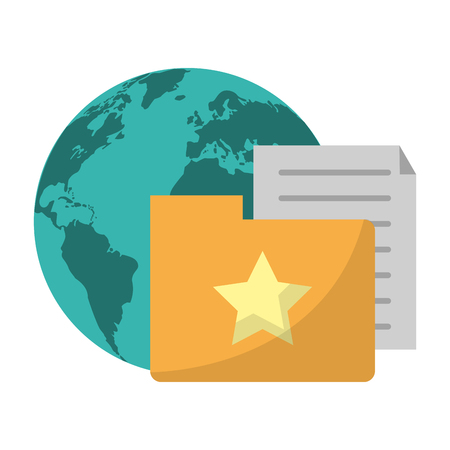 document with file and world symbol vector illustration graphic design
