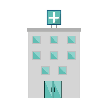 Hospital building medical center isolated vector illustration graphic design