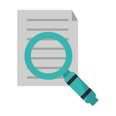 Document with magnifying glass symbol vector illustration graphic design Stock Illustratie