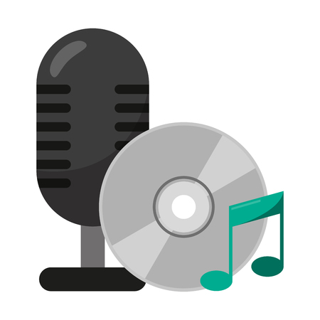 vintage microphone and music cd rom vector illustration graphic design Archivio Fotografico - 125804526