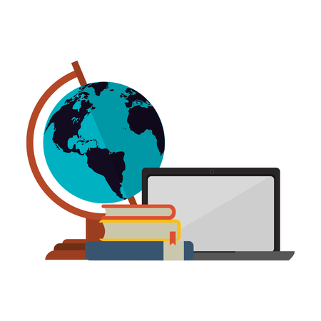 Education supplies elearning laptop with books and world globe vector illustration graphic design