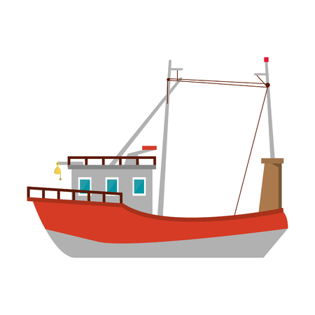 Ship fish boat symbol sideview vector illustration graphic design