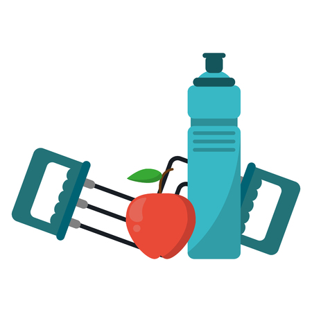Fitness and healthy lifestyle water bottle apple and handgrip vector illustration graphic design Illustration