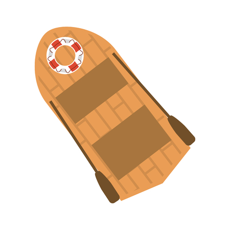 wooden boat with flaot and oars vector illustration graphic design
