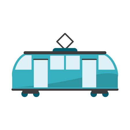 Train on rails sideview isolated vector illustration graphic design