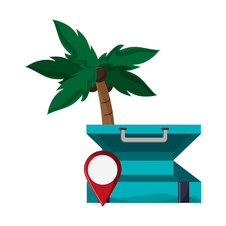 Tourism and travel suitcase open with gps pin and palm vector illustration graphic design
